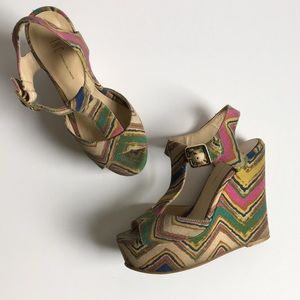 INC Multicolor Wedge sandals - Green, Pink, Tan